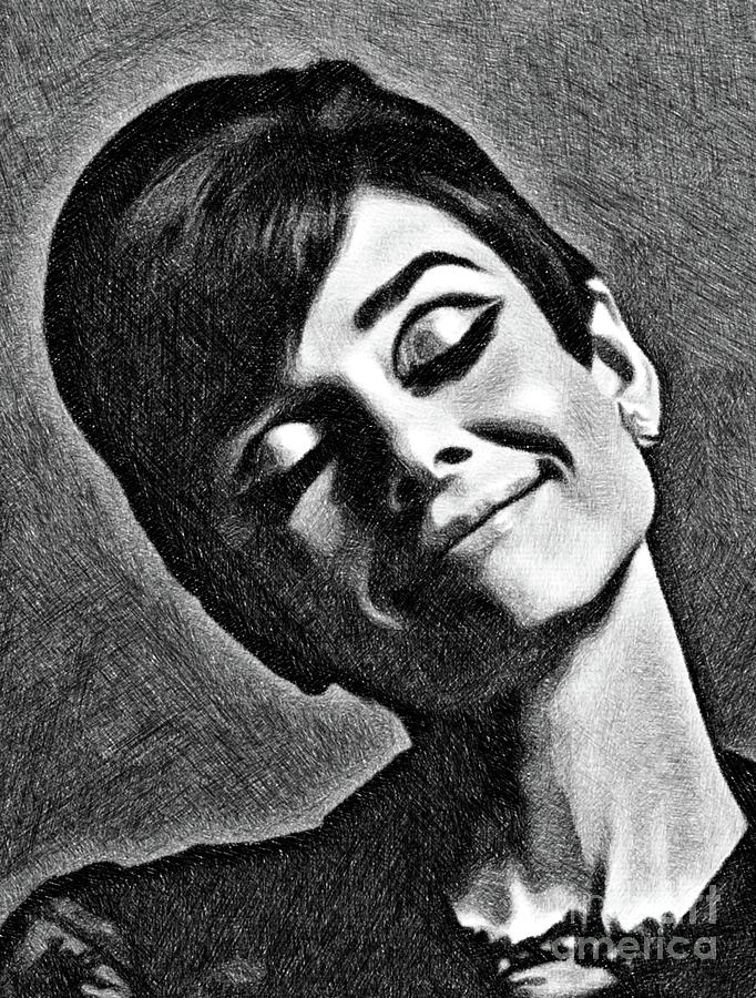 Audrey Hepburn, Vintage Actress By Js Drawing