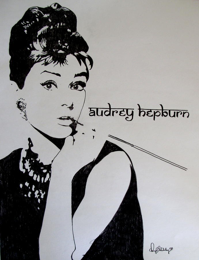 Audrey Drawing - Audrey In Prisma by Cheryl Shibley