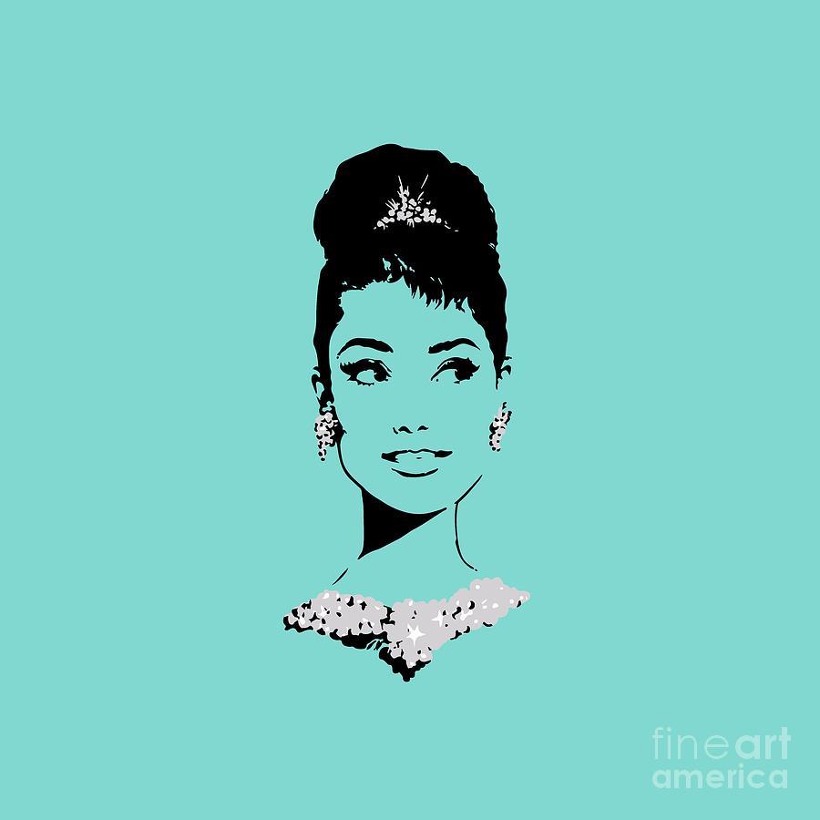 Audrey In Tiffany Blue Digital Art By Rene Flores