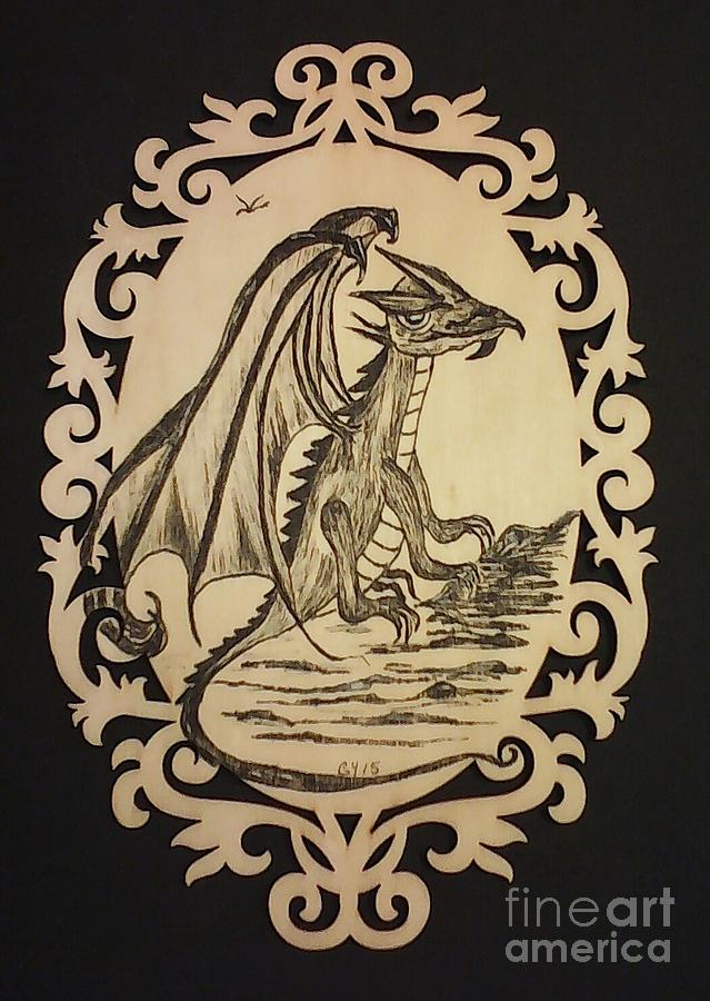 Dragon Drawing - Audreys Dragon by Ginny Youngblood