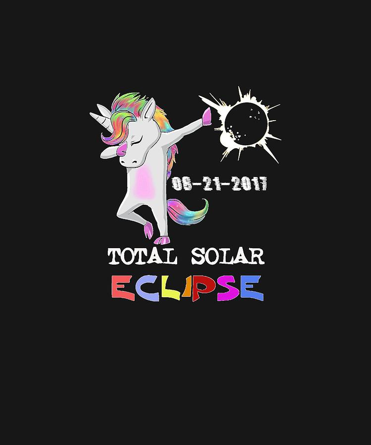Magical Digital Art - August 21 Solar Total Eclipse Funny Dabbing Unicorn by Tanya Soh