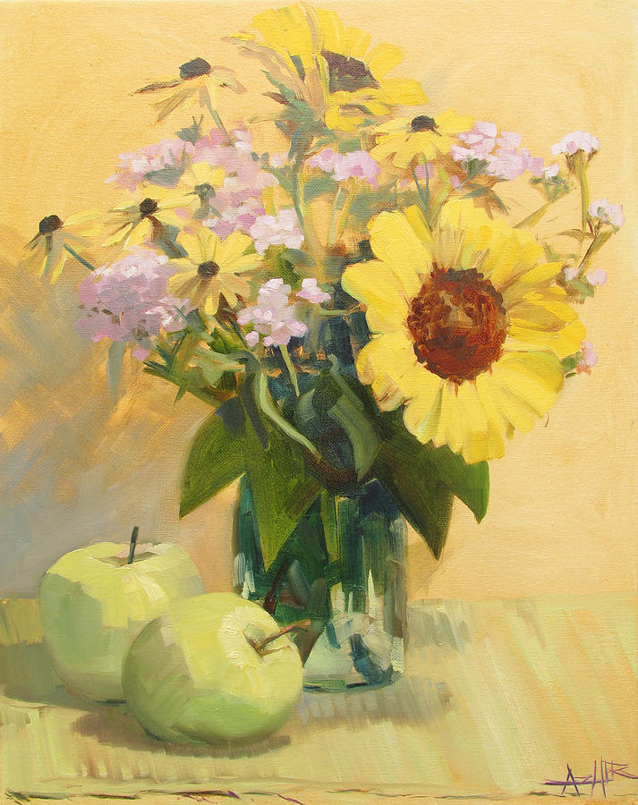Sunflowers Painting - August Flowers with Apples by Azhir Fine Art