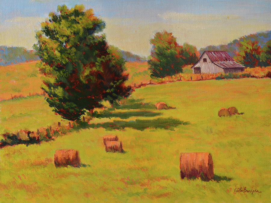 Impressionism Painting - August Hay Field by Keith Burgess