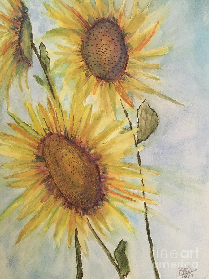 Sunflowers Painting - August Sunflowers by Maura Satchell