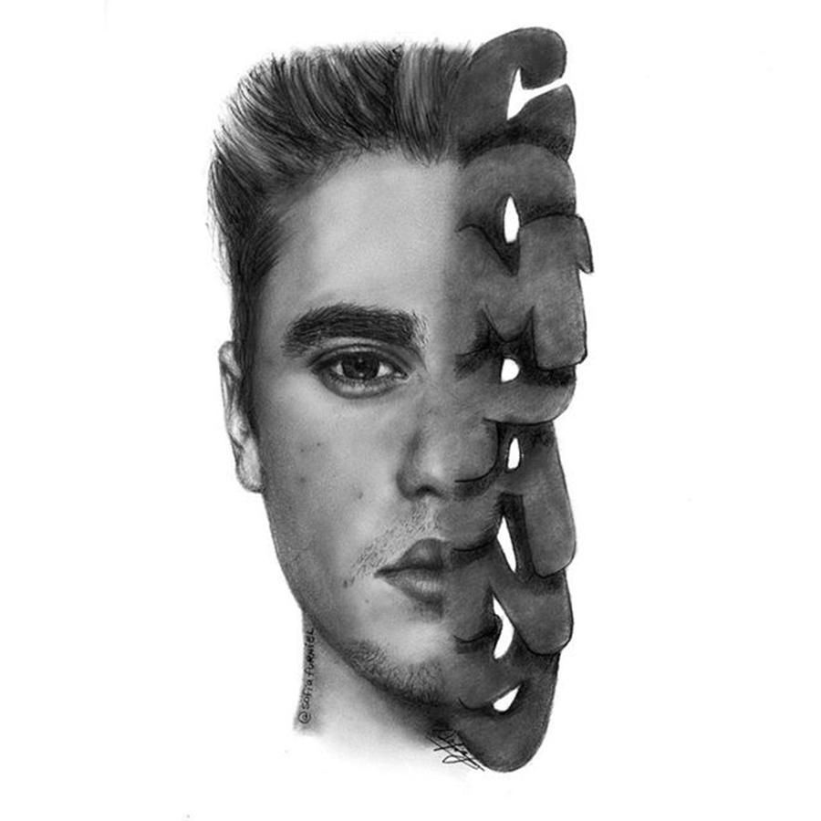 Portrait Drawing - Justin Bieber Drawing By Sofia Furniel by Jul V