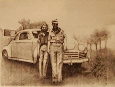 Aunt Barb And Uncle Frank Drawing by Janet Gioffre Harrington
