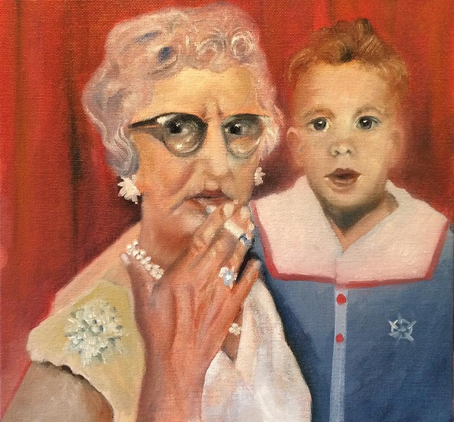 Humor Painting - Aunt Norma Takes Jimmy To Asbury Park by Jennifer Buerkle