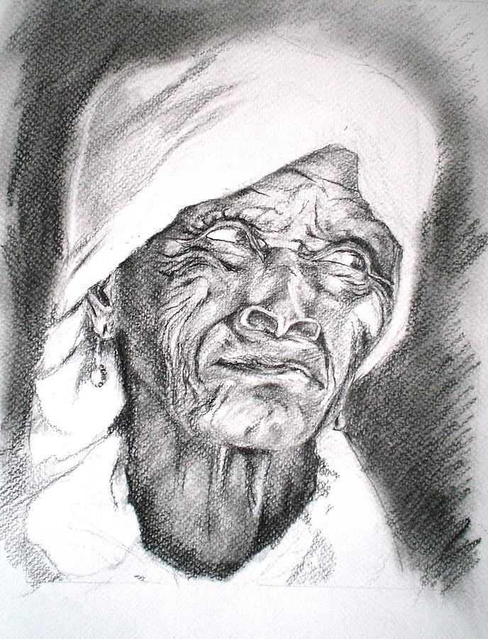 Pencil Drawing - Auntie by Jillian Goldberg
