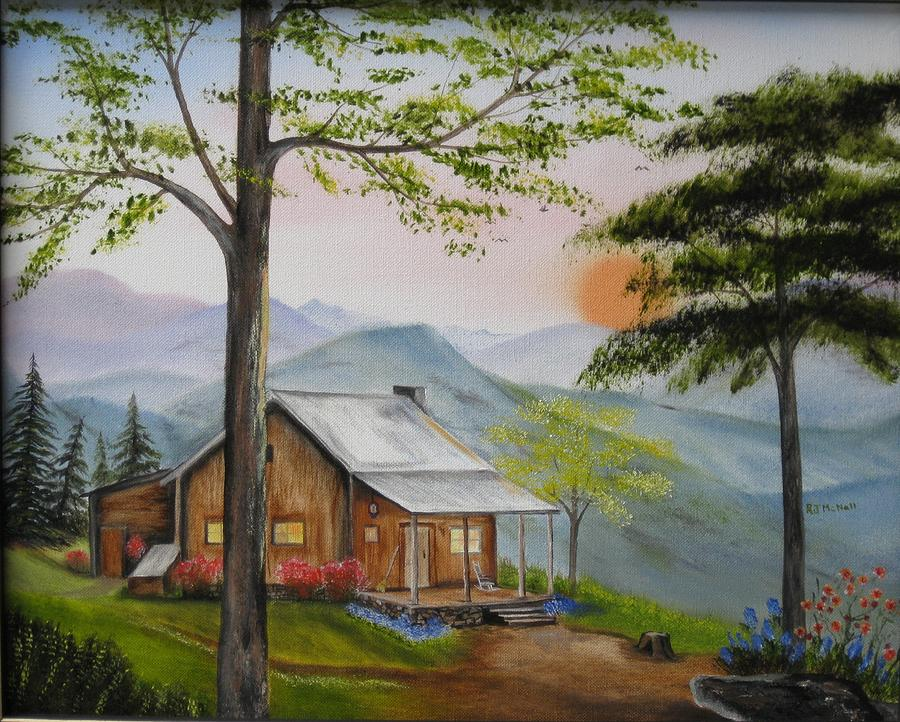 Cabins Painting - Aunties Cabin by RJ McNall