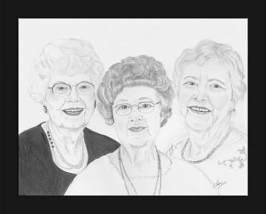 Aunts Drawing by Dolores Fegan