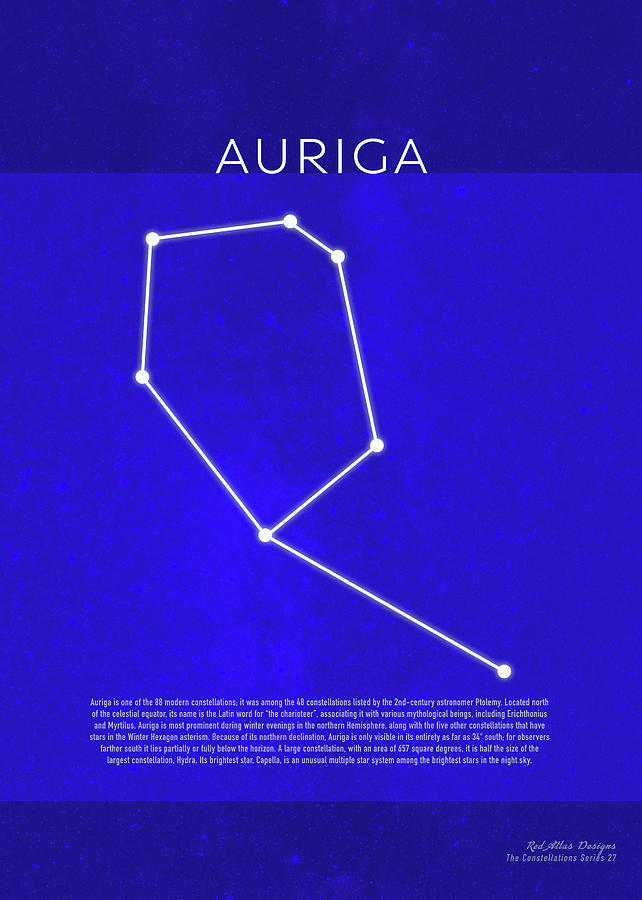 Auriga Mixed Media - Auriga The Constellations Minimalist Series 27 by Design Turnpike
