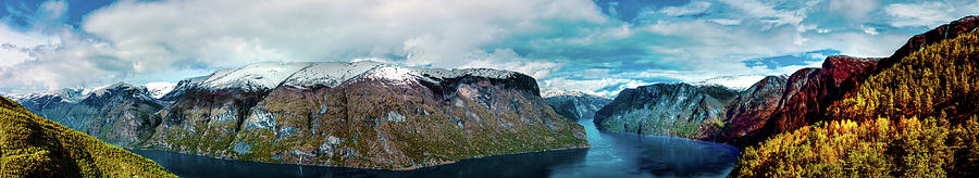 Aurlandsfjorden Panorama Revisited by Josh Bryant