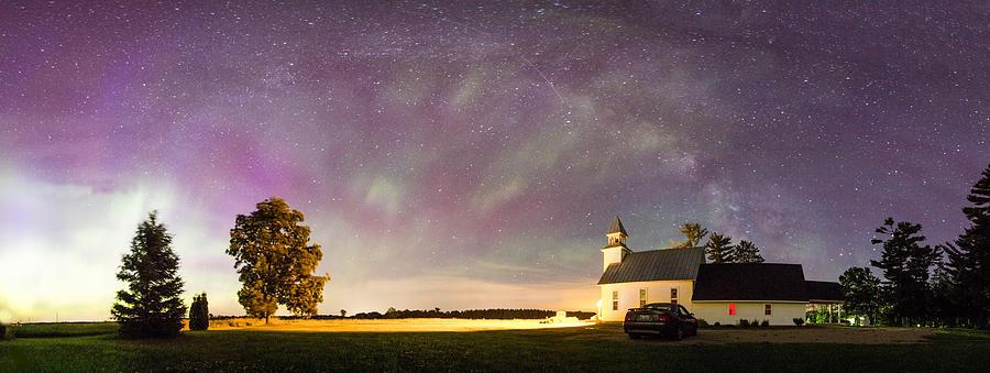 Aurora Borealis Photograph - Aurora And Milky Way  by Lorraine Matti
