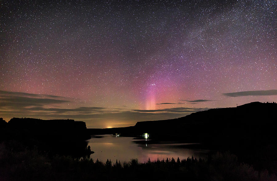 Lake Photograph - Aurora At Lake Billy Chinook by Cat Connor