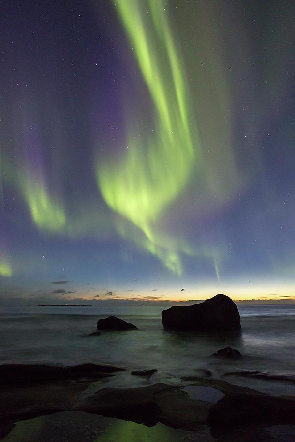 Aurora Photograph - Aurora At Uttakleiv by Alex Conu