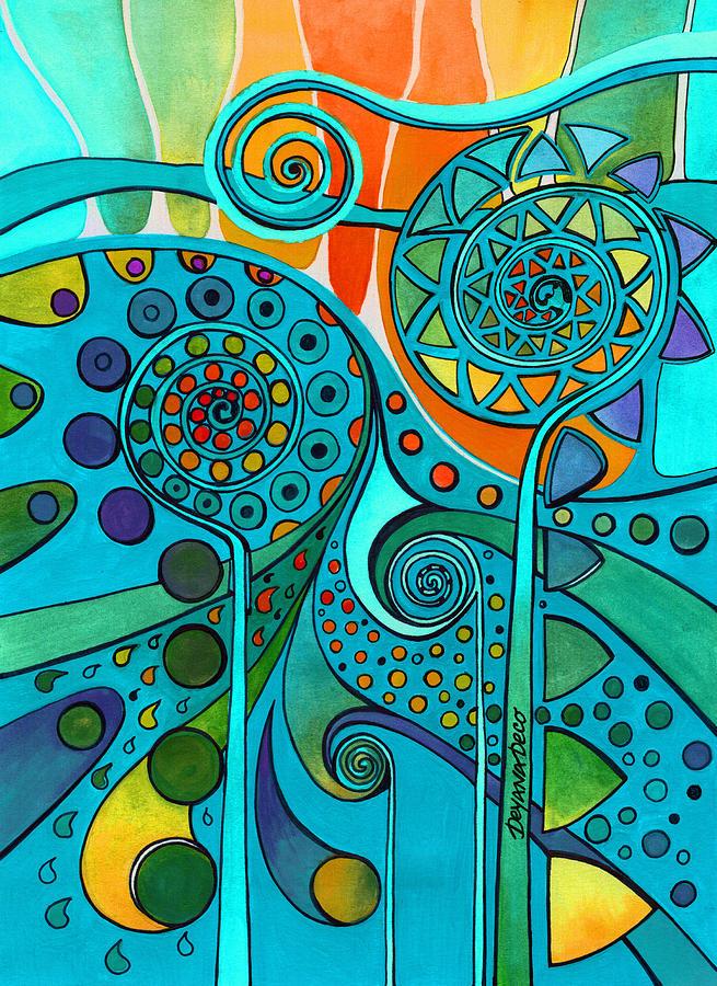 Artwork Painting - Aurora Borealis Green by Deyana Deco