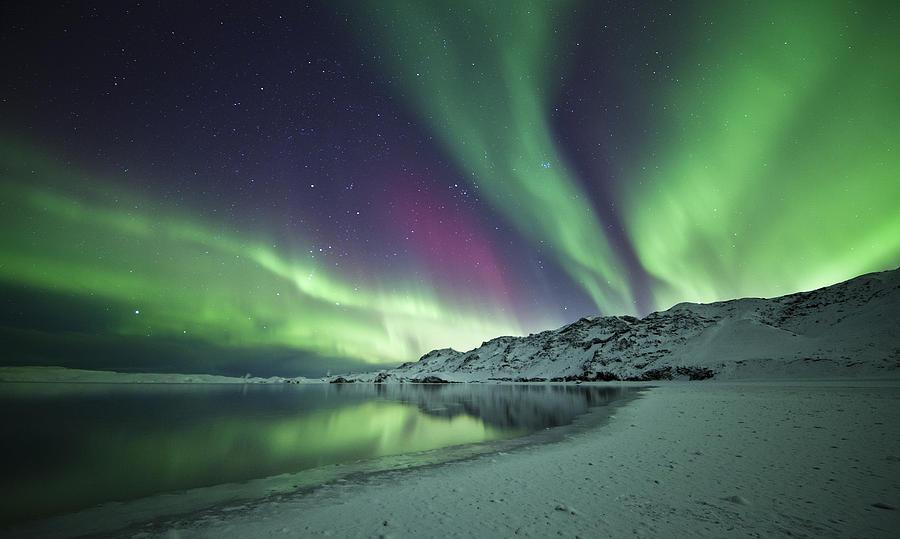 Aurora Photograph - Aurora Borealis In Iceland by Arnar B Gudjonsson