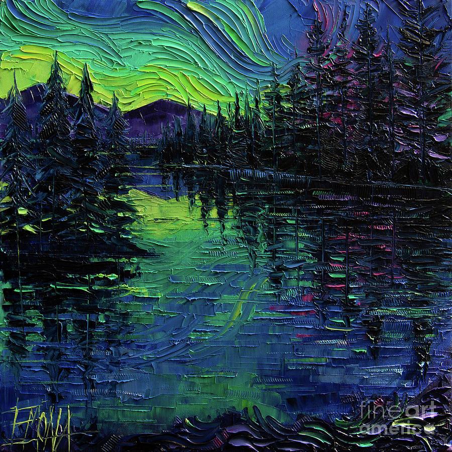 Aurora Borealis Painting - Aurora Borealis Mirage Textural impressionist impasto landscape palette knife oil painting by Mona Edulesco