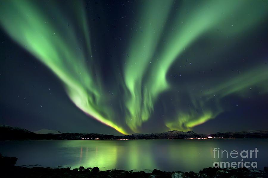 Aurora Borealis Photograph - Aurora Borealis Over Tjeldsundet by Arild Heitmann