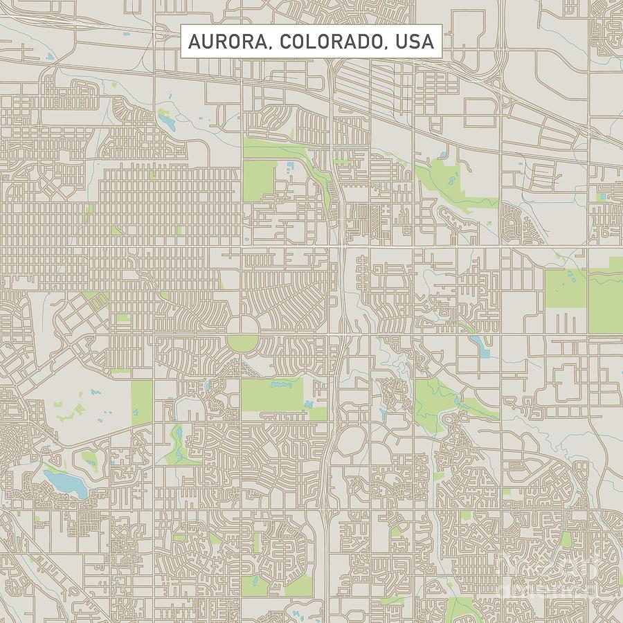 Aurora Colorado Us City Street Map Digital Art by Frank Ramspott