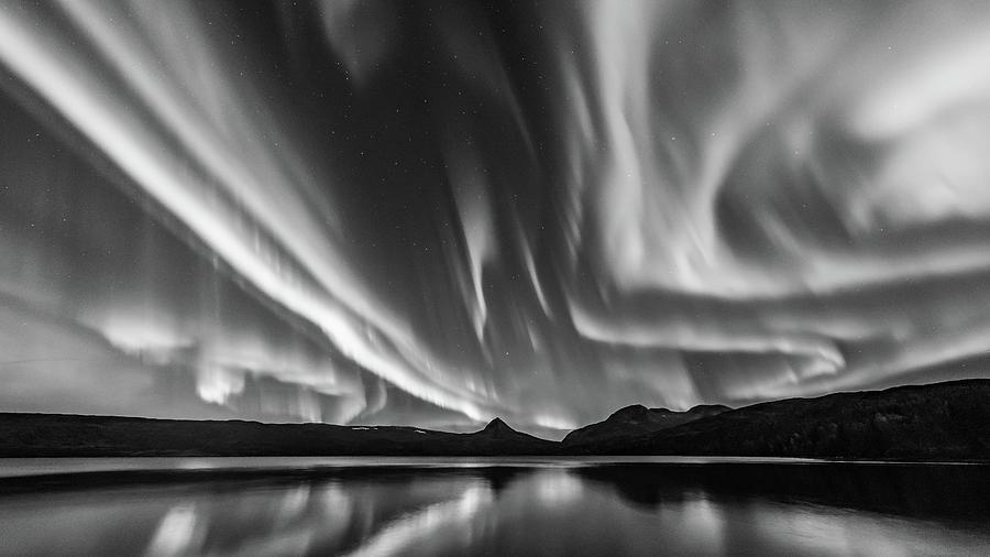 Aurora Borealis Photograph - Aurora in Monochrome by Kolbein Svensson