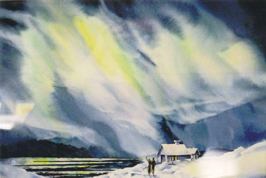 Northern Lights Painting - Aurora-lights by Nancy Newman