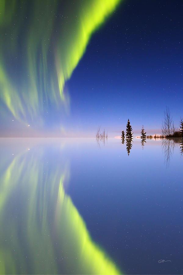 Alaska Photograph - Aurora Mirrored by Ed Boudreau