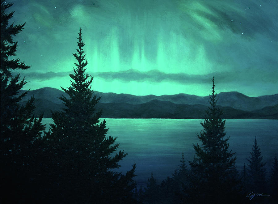 Aurora Over Lake Pend Oreille by Lucy West