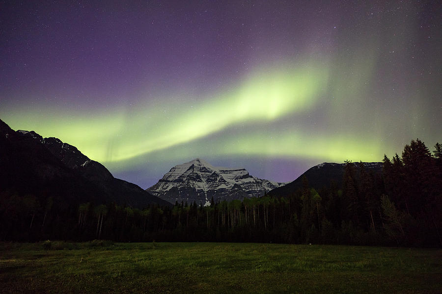 Landscape Photograph - Aurora over Mt Robson by M C Hood