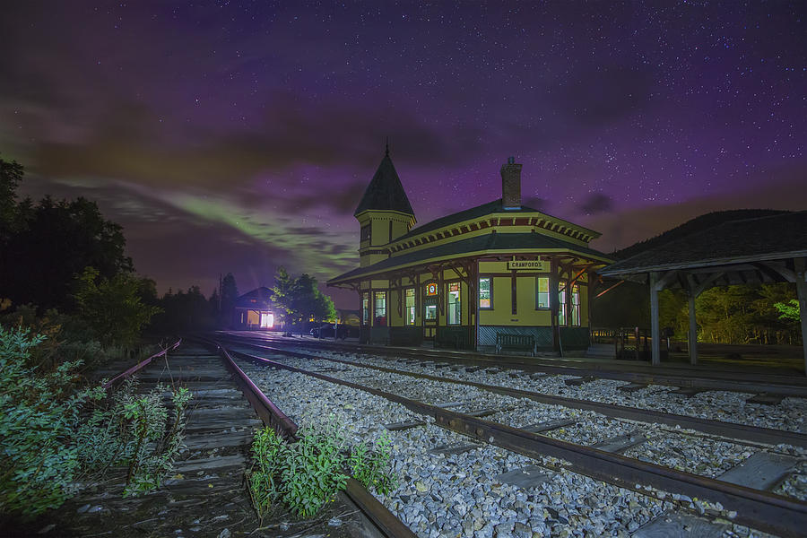 Aurora Photograph - Aurora Over The Crawford Notch Depot by Chris Whiton