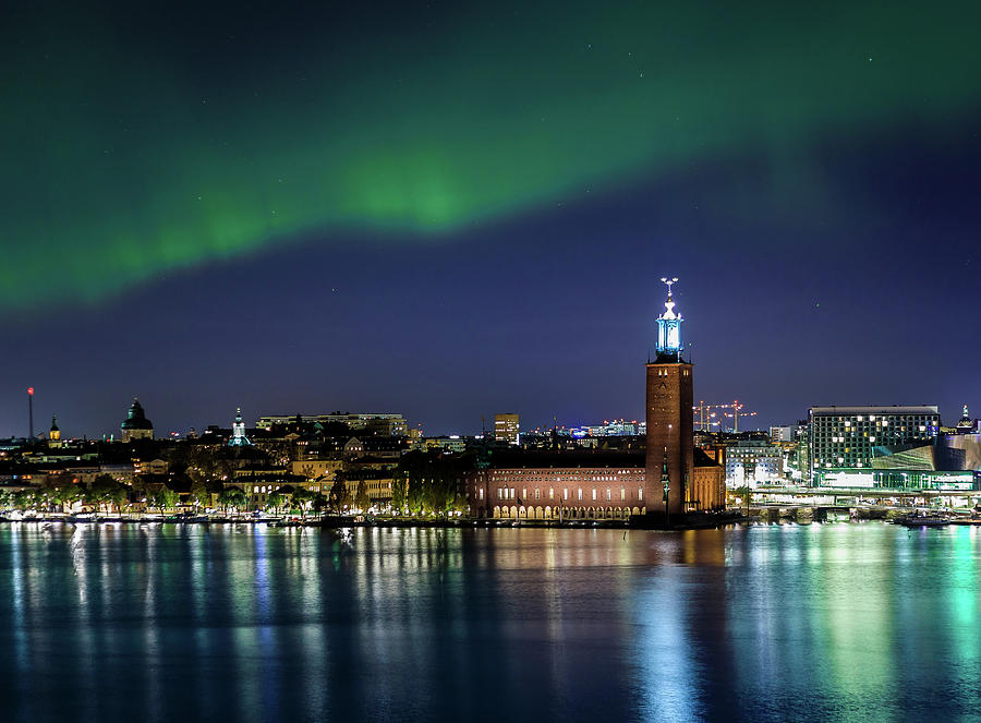 Aurora Borealis Photograph - Aurora Over The Stockholm City Hall And Kungsholmen by Dejan Kostic