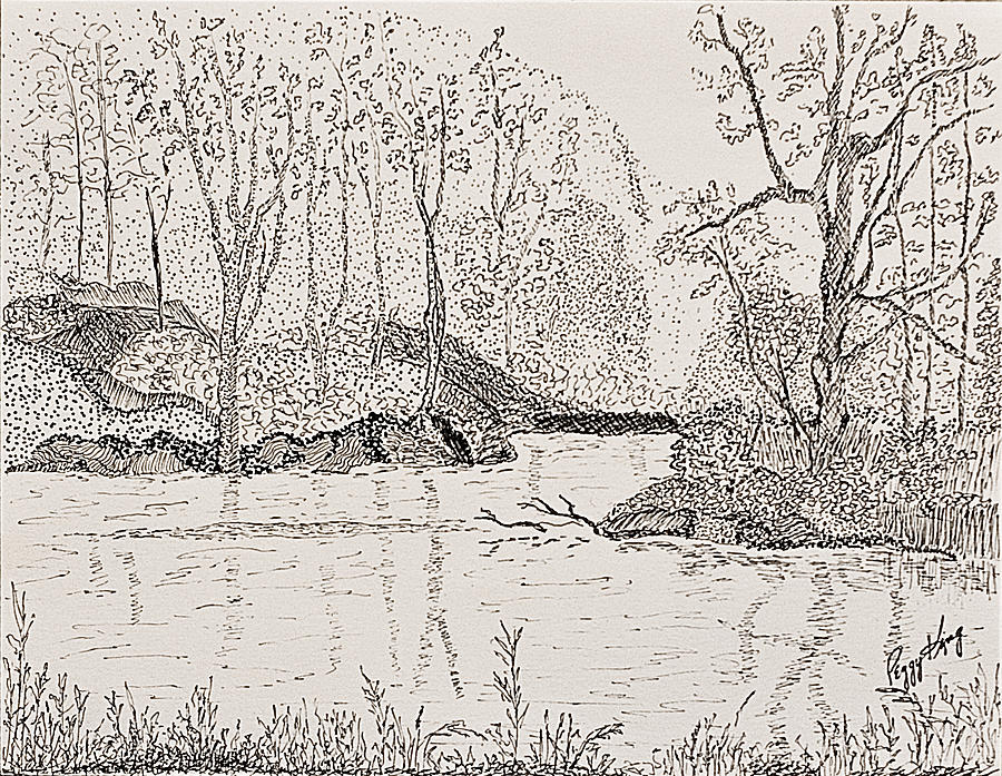 River Drawing - Ausable River At Rock Glen by Peggy King