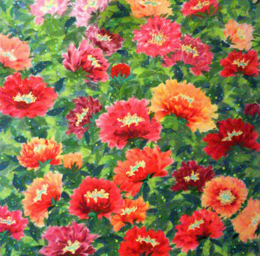 Auspicious Peony No. 1 - Red Painting by Carl Jeremy Lum