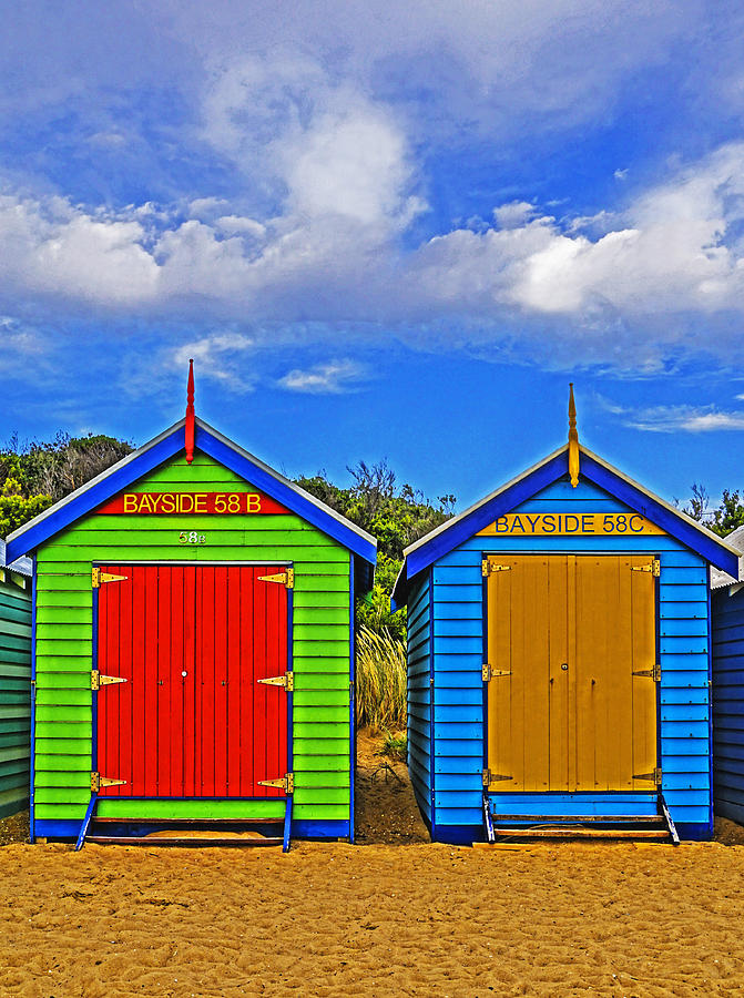 Australia Photograph - Aussie Beach Boxes by Dennis Cox WorldViews