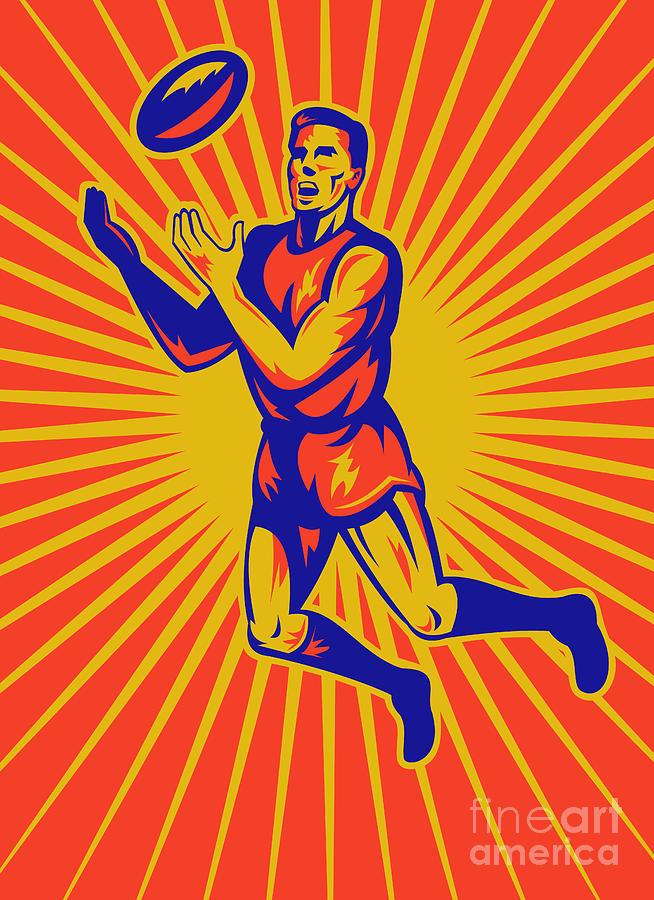 Ausie Rules Football Digital Art - Aussie Rules Player Jumping Ball by Aloysius Patrimonio