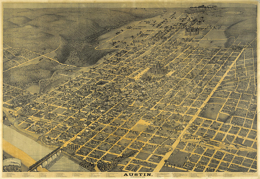 Austin 1887 by Augustus Koch by Texas Map Store