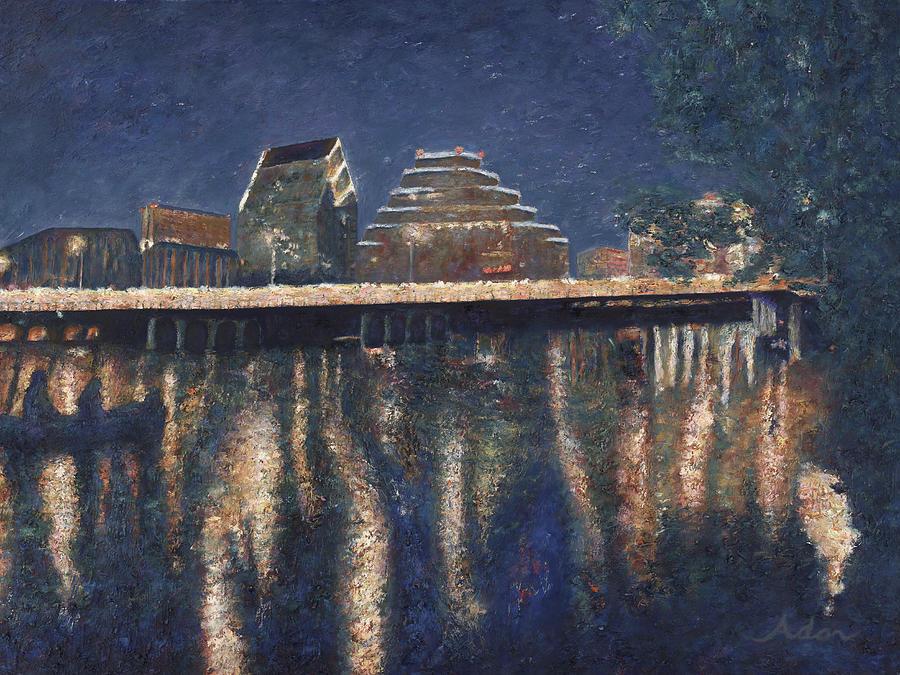 Lady Bird Lake Painting - Austin at Night by Felipe Adan Lerma