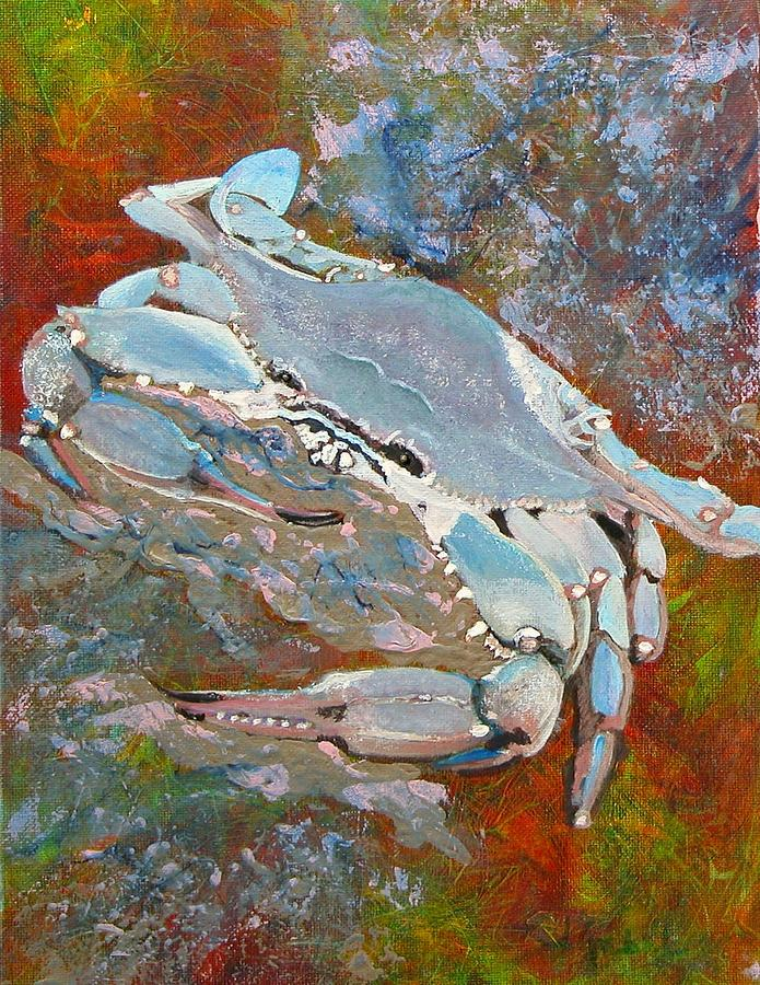 Acrylic Painting - Austin Blue Crab by Laura Gabel