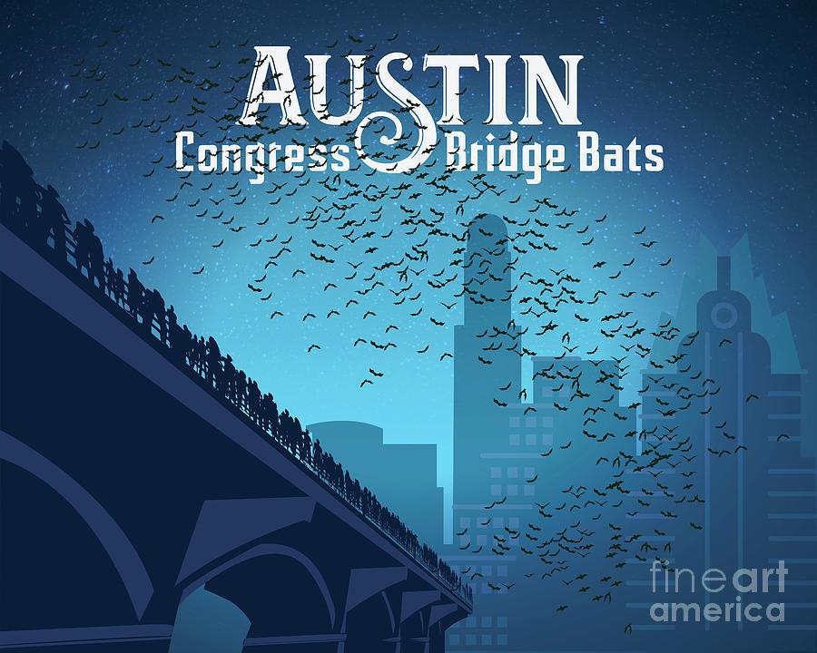 Austin Painting - Austin Congress Bridge Bats in Blue Silhouette by Austin Bat Tours