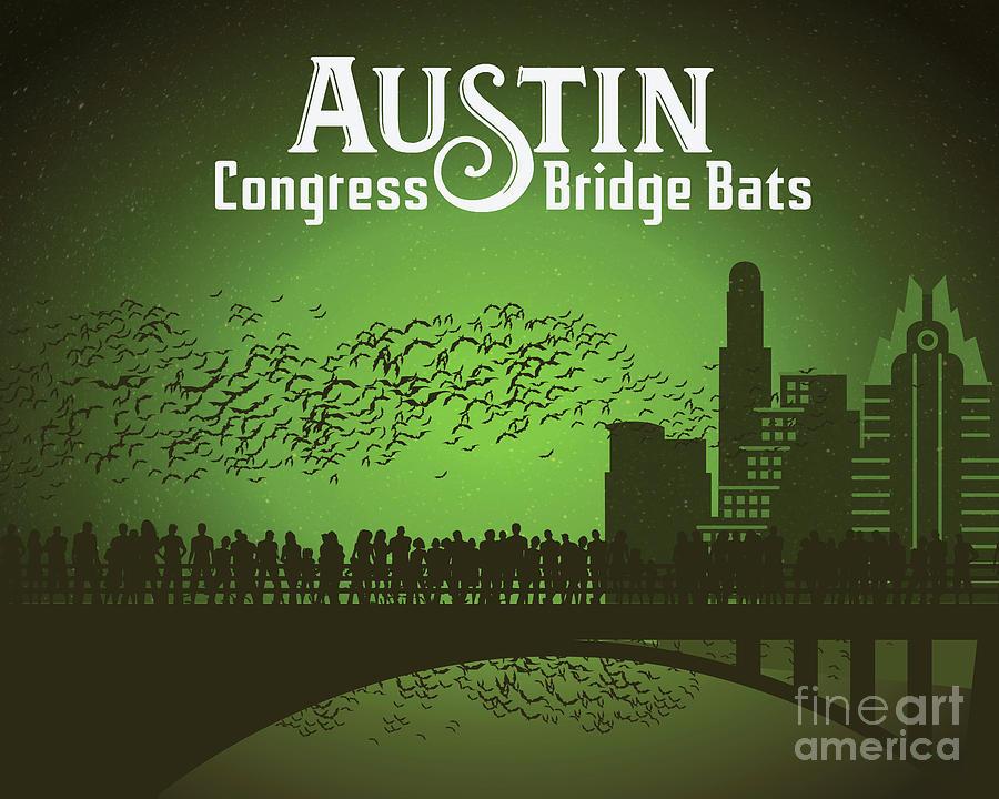 Austin Painting - Austin Congress Bridge Bats in Green Silhouette by Austin Bat Tours