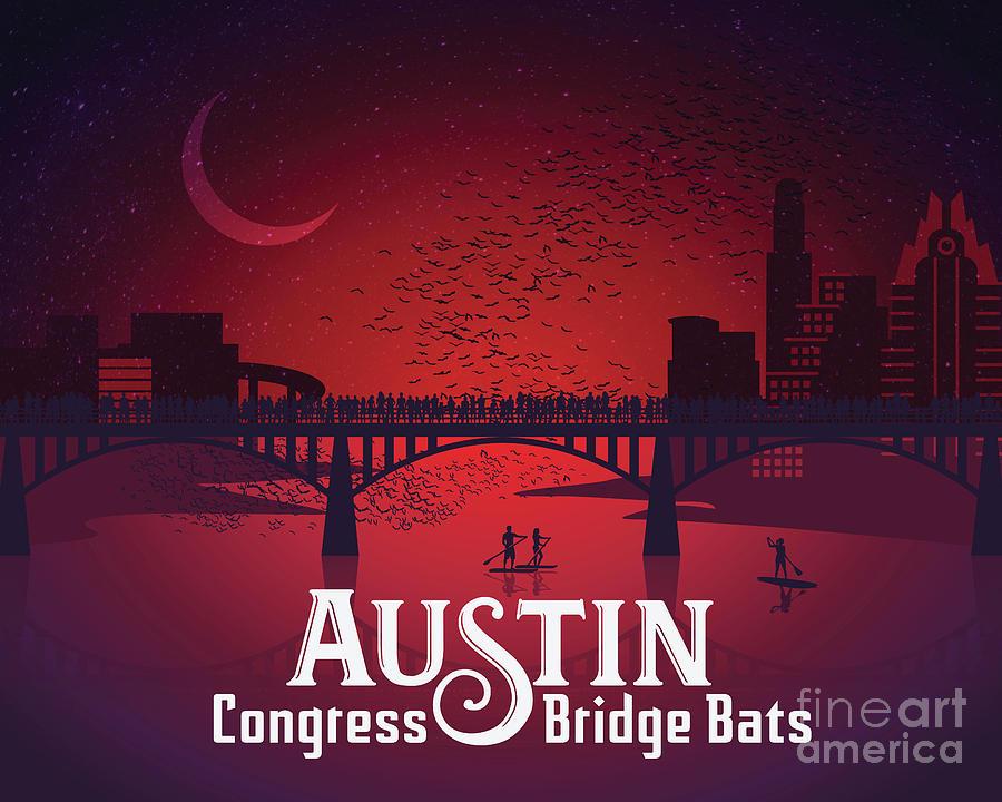 Austin Painting - Austin Congress Bridge Bats in Red Silhouette by Austin Bat Tours