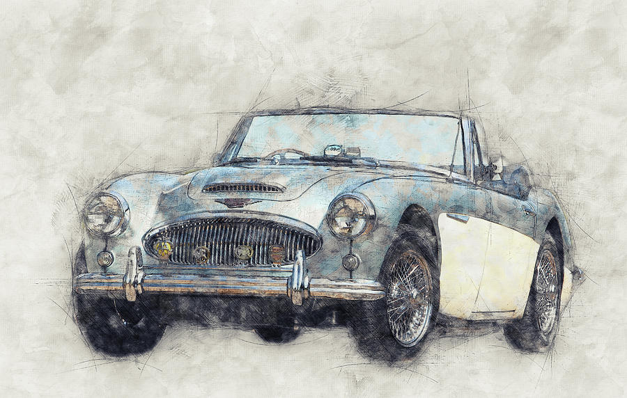 Austin-healey 3000 1 - British Sports Car - 1959 - Automotive Art - Car Posters Mixed Media