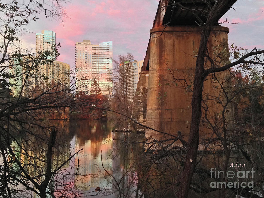 Triptych Photograph - Austin Hike and Bike Trail - Train Trestle 1 Sunset Triptych Middle by Felipe Adan Lerma
