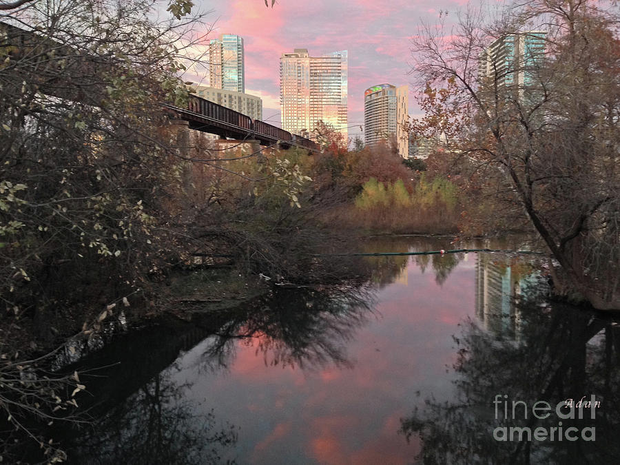 Triptych Photograph - Austin Hike And Bike Trail - Train Trestle 1 Sunset Triptych Right by Felipe Adan Lerma