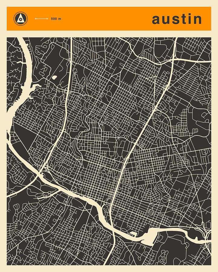 Maps Digital Art - Austin Map by Jazzberry Blue