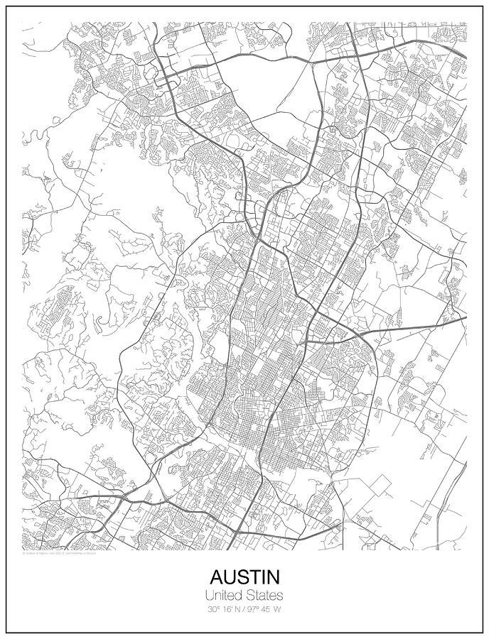 Austin Minimalist Map Digital Art by Lori Hinner