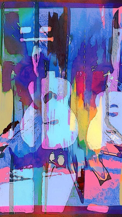 Blue Digital Art - Austin Music by Cooky Goldblatt