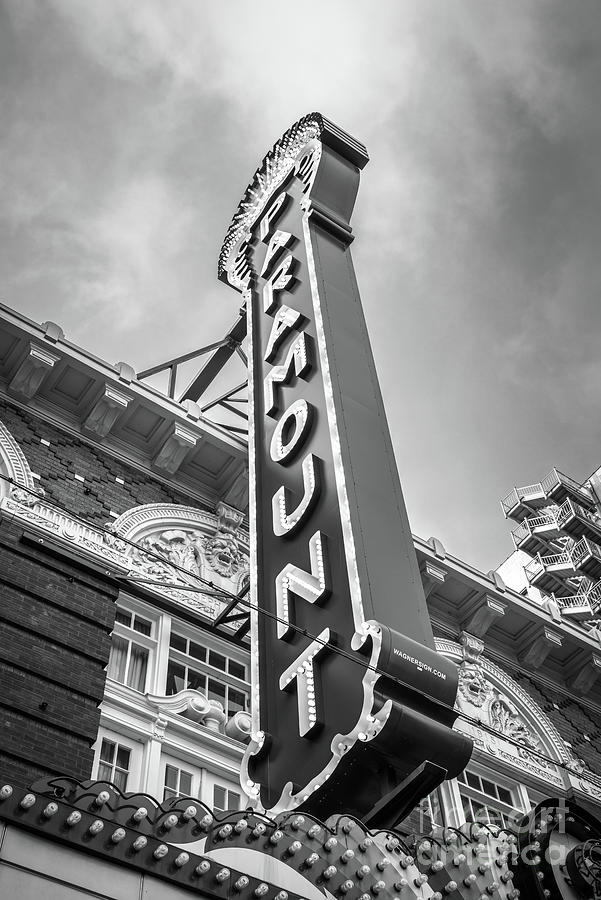America Photograph - Austin Paramount Theatre Sign Black And White Photo by Paul Velgos