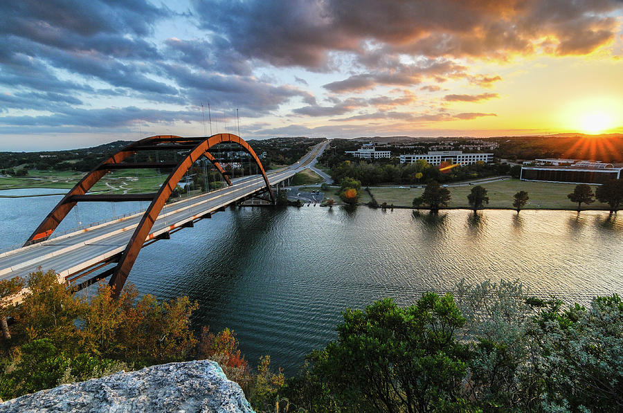Austin Photograph - Austin Pennybacker 360 Bridge Sunset by Preston Broadfoot