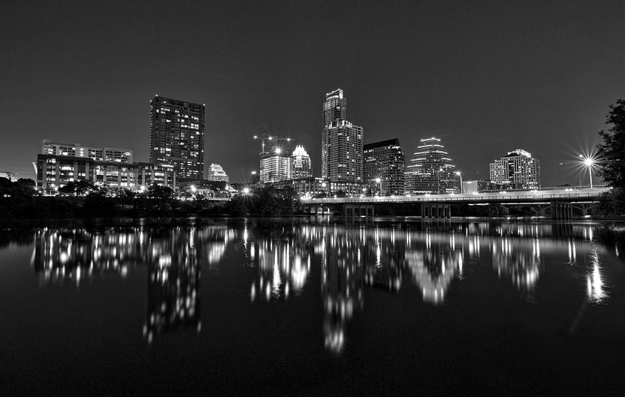 Austin Skyline At Night Black And White Photograph By Todd